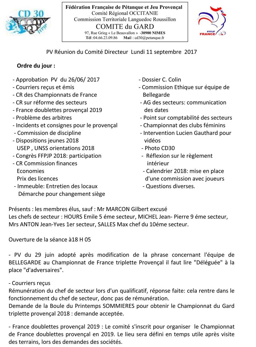 Calendrier Championnat De France Petanque 2019.Pv Comite Directeur 11 09 2017