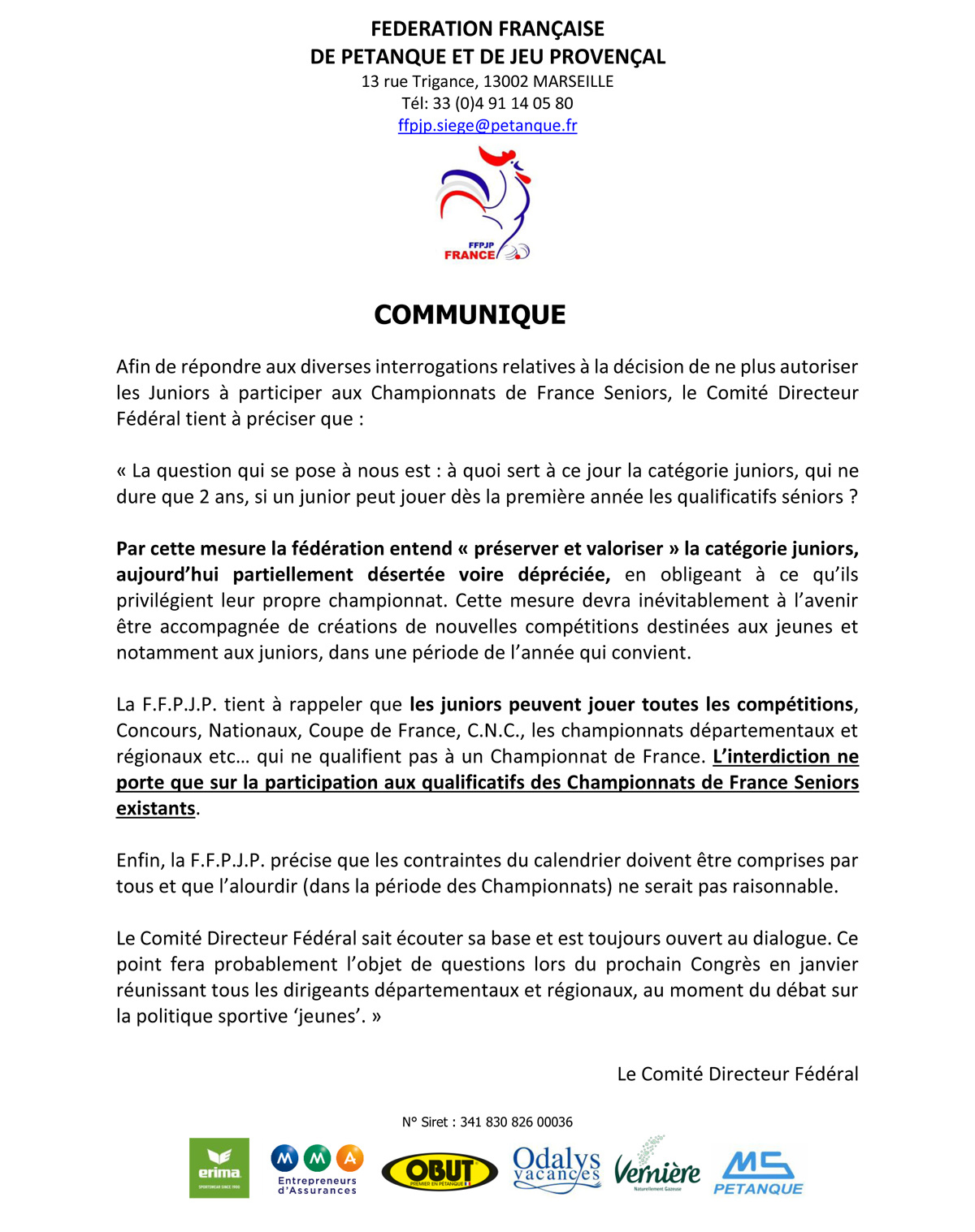Calendrier Championnat De France Petanque 2019.Infos Petanque